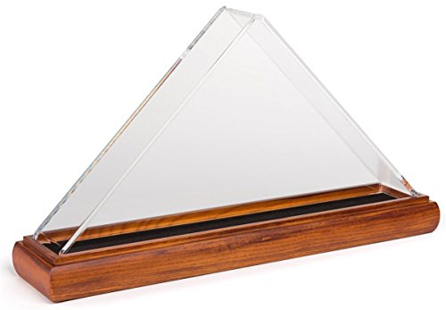 Displays2go Cherry Wood Flag Display Cases with Clear Acrylic Cover - Cherry (FC35ACCH)