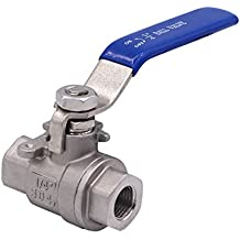 Dernord Full Port Ball Valve Stainless Steel 304 Heavy Duty for Water, Oil, and Gas with Blue Locking Handles (1/4 NPT)