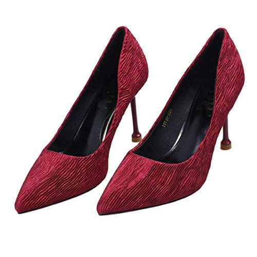 single joker thin sexy shoes shoes shoes pointed 8cm shoes LBTSQ wrinkle heeled Fashion gules high HqWxgc7p1w
