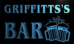w024731-b GRIFFITTS Name Home Bar Pub Beer Mugs Cheers Neon Light Sign