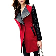 SODIAL(R) Winter Womens Long Warm PU Leather Sleeve Jacket Coat Parka Trench Windbreaker