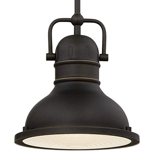 Wifond Industrial Pendant Light Fixture, LED Indoor Mini Lighting, Oil Rubbed Bronze Finish with Highlight and Frosted Prismatic Lens, Decoration for Parlor Bar Dining Room Kitchen Bedroom Restaurant