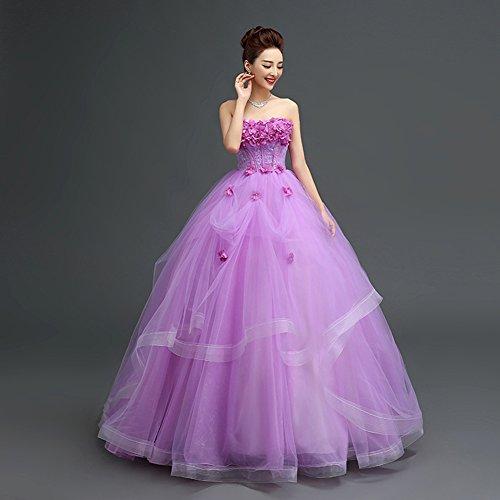 Gown Tulle BessWedding Strapless Wedding for Long Women Ball Flower Prom Dress Purple qwrIIFOtg