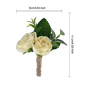 YSUCAU Wrist Corsage and Boutonniere Set, Brooch Bouquet Corsage Classic Artificial Groom Bride Bridesmaid Corsage Flowers with Pin for Wedding Prom Party 4