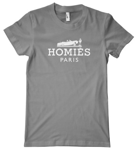 Faux Design - Homies Paris White American Apparel T-Shirt, Slate, Medium