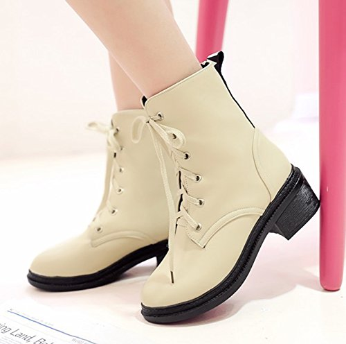 Stylish Apricot Medium Booties Chunky Letter Heels Up Round Print Toe Aisun Platform Lace Women's Shoes q65R74xwR0