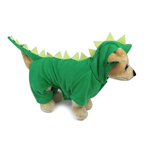Little Pet Dog Coat, Lotus.flower Cute Hoodie Clothes Puppy Dragon Costume Soft Jacket Warm Apparel (M, Green) ()