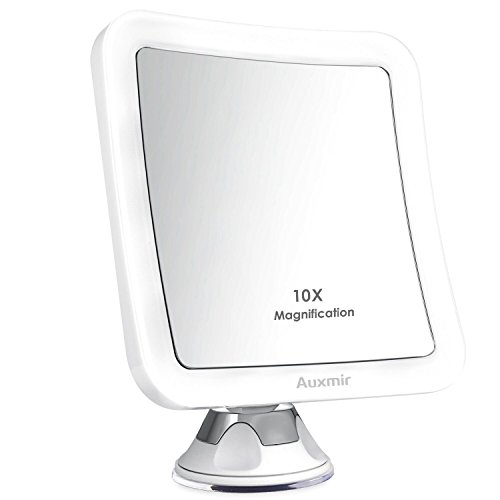 (Auxmir 10X Magnifying LED Lighted Makeup Mirror with Suction Base, 360° Swivel, Cordless Cosmetic Vanity Mirror for Home and Travel, Battery Included, Square, 5.12