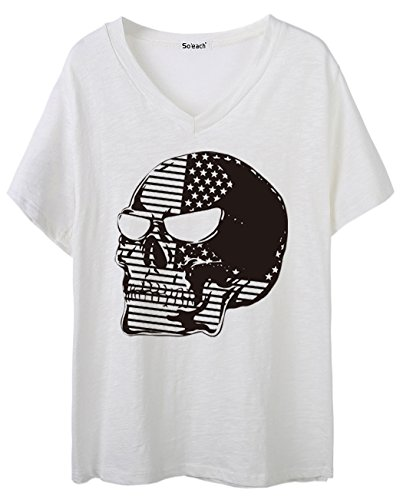 So'each Women's Skull US Flag Graphic V-Neck Tee T-shirt Ladies Casual Top