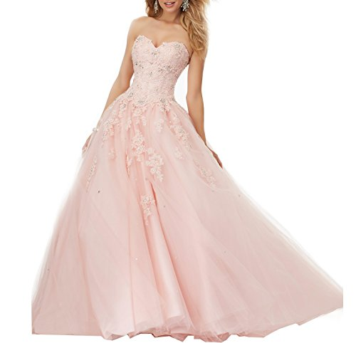 Meledy Women's Sweetheart Lace Tulle Ball Gown Sweet 16 Beads Girls' Prom Quinceanera Dresses Blush US06