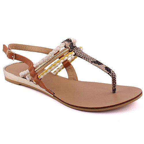 Unze Las nuevas mujeres 'Rico' coloridos Strappy Verano Beach Party Reunirse Carnaval Casual Sandalias Zapatos Reino Unido Tamaño 3-8 Crema