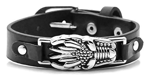 - Xusamss Hip Hop Alloy Dragon Leather Belt Buckle Bracelet,Adjustable 7-8inches