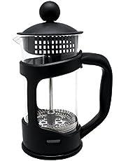 NERTHUS Franse koffiepers 350 ml, PP/borosilicaatglas/SS, zwart, 18 x 11,5 x 8 cm