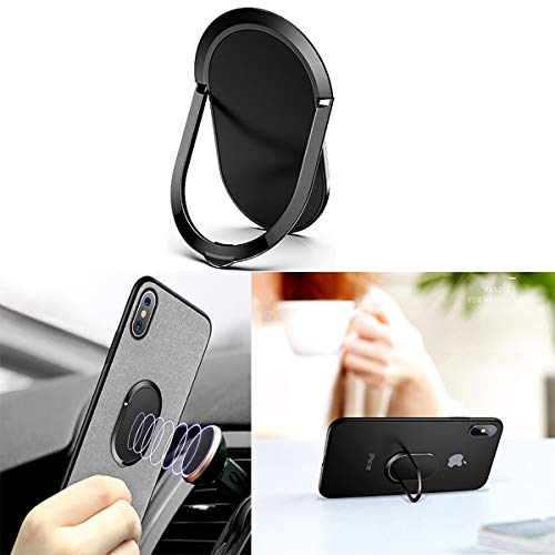 1.8MM Super Thin Phone Ring Holder 360 Degree Rotation Finger Kickstand Metal Ring Grip for Magnetic Car Mount Compatible with All Smartphone (Black)