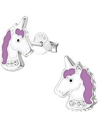 925 Sterling Silver Hypoallergenic Purple Unicorn Stud Earrings 32011