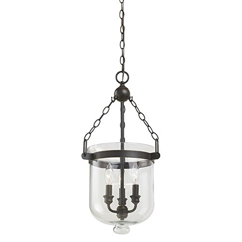 Sea Gull Lighting 65046-715 Westminster Three-Light Pendant with Clear Glass Shade, Autumn Bronze - Seagull Lighting Pendant