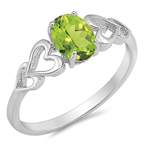 925 Sterling Silver Faceted Natural Genuine Green Peridot Oval Heart Ring Size 5