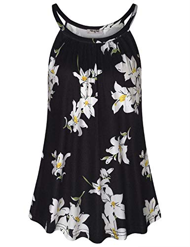 Hibelle Womens Tank Tops Loose Fit, Summer Sleeveless Flowy Halter Cami Blouse Beautiful Floral High Neck Pleated Tunic Shirts for Leggings Lightweight Camisoles Black White M (High Neck Floral Tunic)