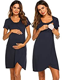 Ekouaer Maternity Nightgown Nursing/Labor/Delivery Gown Hospital Breastfeeding Dress
