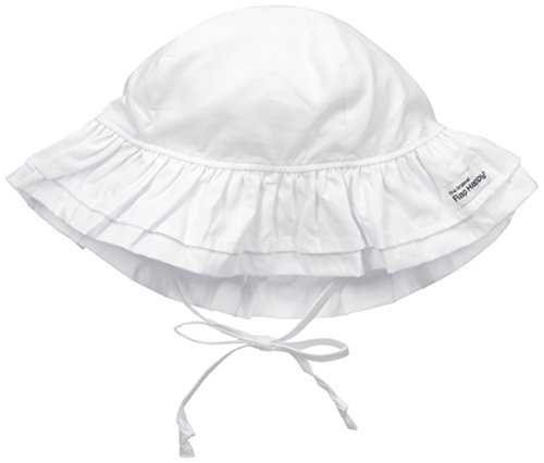 Flap Happy Baby Girls' Upf 50+ Double Ruffle Hats, White, Large ()