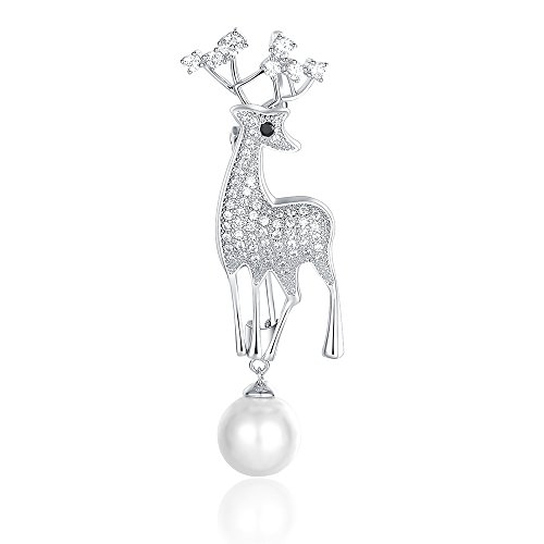 Mytys Classic CZ Pave Brooches Pins Bling Deer Pins Animal Brooches Pin for Women Girl