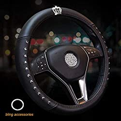 Genuine Leather Steering Wheel Cover with Crystal Emblem
