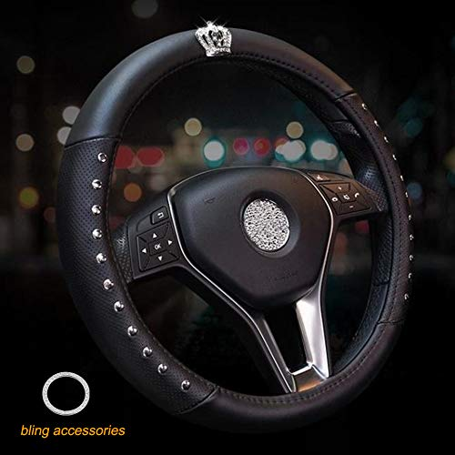 ALVAZA Genuine Leather Car Steering Wheel Cover with Decorative Rivet and Bling Crystal Rhinestone Crown for Vehicles SUV, Breathable, Anti-Slip,Universal 15 Inch (Black)