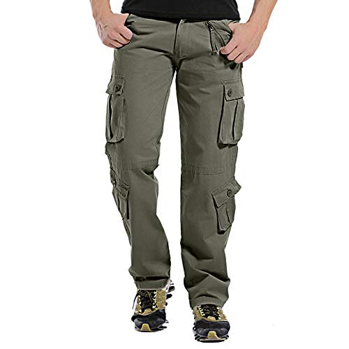 POHOK Clearance Men's Trousers Casual Outdoors Pants Button Multi-pocket Work Trouser Cargo Long Pants