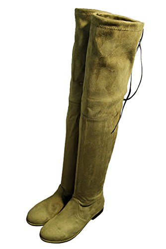 Royou Boots The Over Flat Elastic Women's Boots Green Suede Thigh Knee High Yiuoer qxUwStfZ