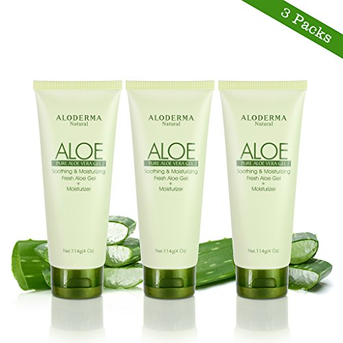 Aloderma Pure Aloe Vera Gel - Soothes and Hydrates Dry, Itchy, or Irritated Skin; great for Acne, Dandruff, Sunburn, Rashes (4 oz x 3 packs) (Gel Vera Seaweed Aloe)