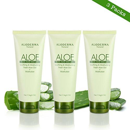 Aloderma Pure Aloe Vera Gel - Soothes and Hydrates Dry, Itchy, or Irritated Skin; great for Acne, Dandruff, Sunburn, Rashes (4 oz x 3 packs) (Gel Vera Aloe Seaweed)