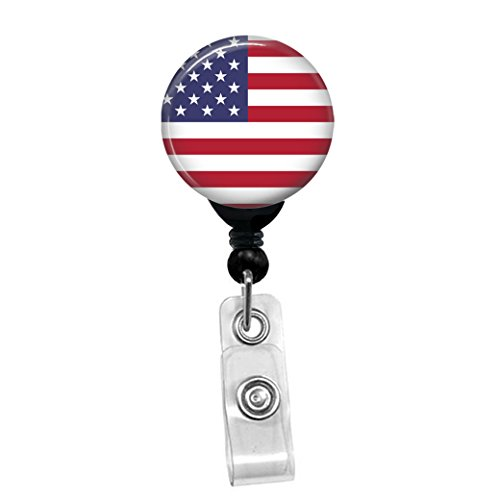Patriotic USA Flag- Memorial Day Fourth Of July American US Flag ID Card Name Tag Custom Badge Holder (Black Badge Reel with Spring Pinch Clip)