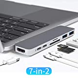 HyperDrive USB C Hub, Best Type-C Duo Adapter 50Gbps MacBook Pro 2018 2017 2016 13