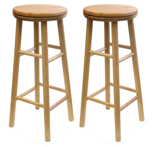 Winsome Wood 30-Inch Swivel Seat Barstool with Natural Finish, Set of 2 Round Rung