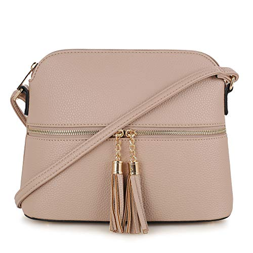 SG SUGU Lightweight Medium Dome Crossbody Bag with Tassel | Zipper Pocket | Adjustable Strap (Beige)