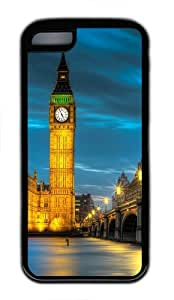 iPhone 5C Case Cover - Amazing Belfry Night Cool Design TPU Silicone Rubber Case for Apple iPhone 5C - Black