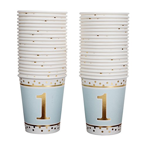 Geeklife 1st Birthday Boy Gold Paper Cups,Cute Blue Gold Cups 9oz for 1st Birthday Party or 1st Anniversary Day,40 pcs