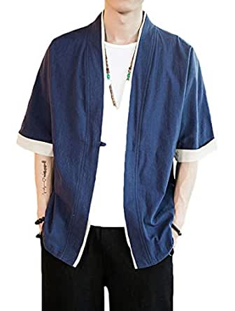 ULEEMARK Hombres Kimono Cárdigan Japonesa Informal Chaqueta ...