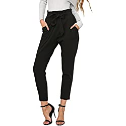 BerryGo Women's Casual Loose High Waist Stretchy Skinny Slim Long Pants (Black,L)