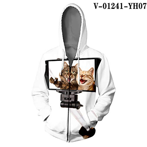 Print Woman Star cat 3D Hooded Harajuku Pussy Winter Warm Zipper Sweatshirt Orange