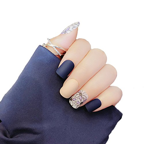 Amazon.com : JINDIN 24 Sheet Short Matte Fake Nails for Women Girls ...