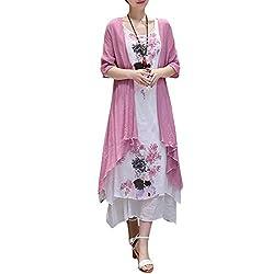 Women Dress Two Piece Retro Floral Printed Color Block Asymmetric Hem Round Neck Long Cotton Linen Maxi Dress