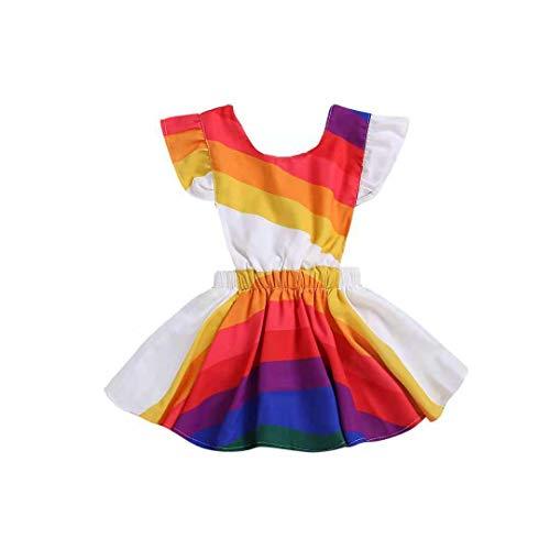 (Summer Dress for Toddler Girls Fly Sleeve Rainbow Striped Dress Backless Beach Sundress (Rainbow, 3-4)