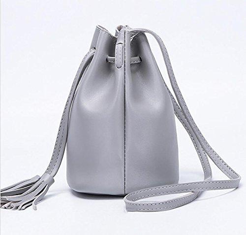 à Ladies Gris sacs Sacs à sac poignée gland haut cordonnet seau Simple sauvage Gris bandoulière xXrXHSq