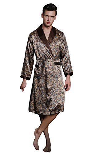 SexyTown Long Satin Lounge Print Bathrobe Men's Charmeuse Sleepwear Pockets Medium Coffee