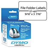 DYMOamp;reg; 2-Up File Folder Labels for Label Printers, 3-7/16 x 9/16, White, 260/Pack