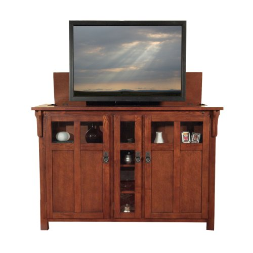 Touchstone 70062 - Bungalow TV Lift Cabinet (Chestnut Oak) - Up to 60 Inch TVs Diagonal (55 In Wide) - Mission Style Motorized TV Cabinet - Pop Up TV Cabinet With Memory Feature, IR/RF, 12V Trigger ()