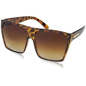 Large Retro Style Square Aviator Flat Top Sunglasses Shades (Tortoise)