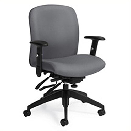 (Global Truform Medium Back Multi Tilter Chair with Arms in Slate)