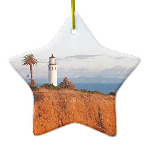 Lionkin8 Christmas Ornaments Palos Verdes Lighthouse Holiday Tree Ornament Both Sides Star Ceramic Ornament Crafts 3 ()
